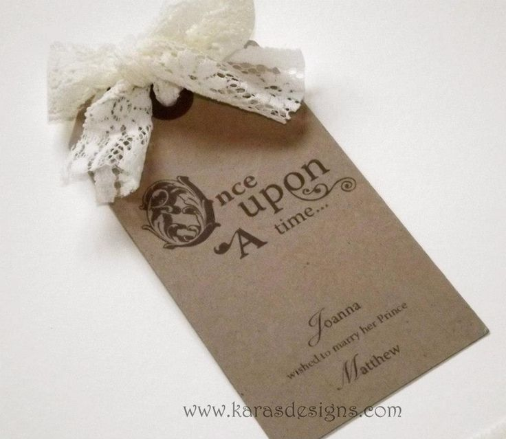 Save The Dates rustic lace brown tag save the dates. Once upon a time fairytale theme wedding karasdesigns.com
