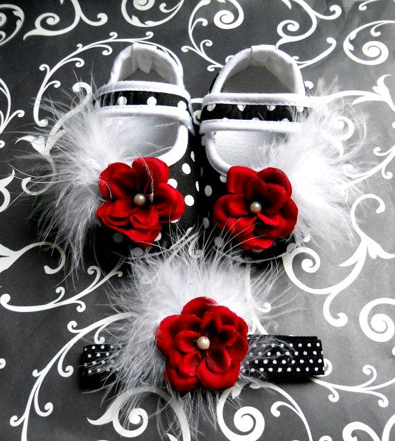 #So cute for winter holidays!#adorable#baby girl shoes#red flower