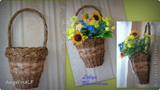 Поделка изделие Плетение Подвесные кашпо Трубочки бумажные фото 2
