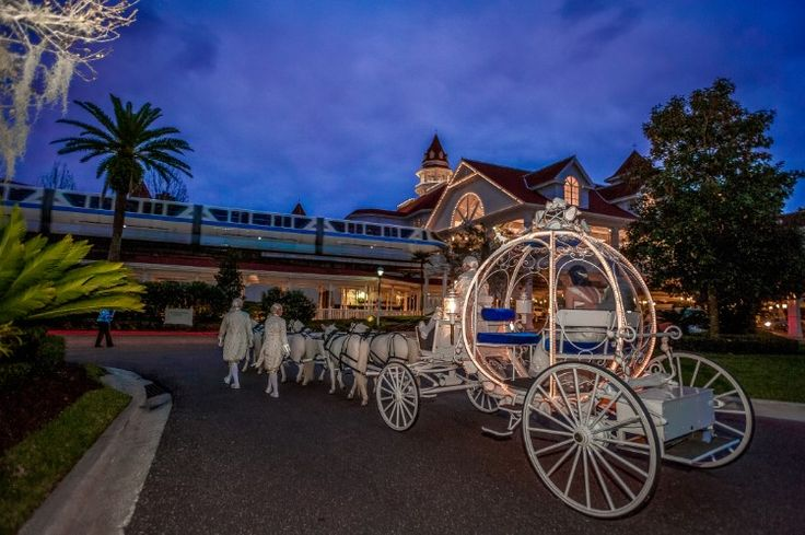 Fairytale Lake Buena Vista Wedding at Disney's Grand Floridian Resort and Spa, FL  This horse drawn Cinderella carriage is the perfect exit to a fairytale wedding!   Photographer:  Our Day Wedding Photography