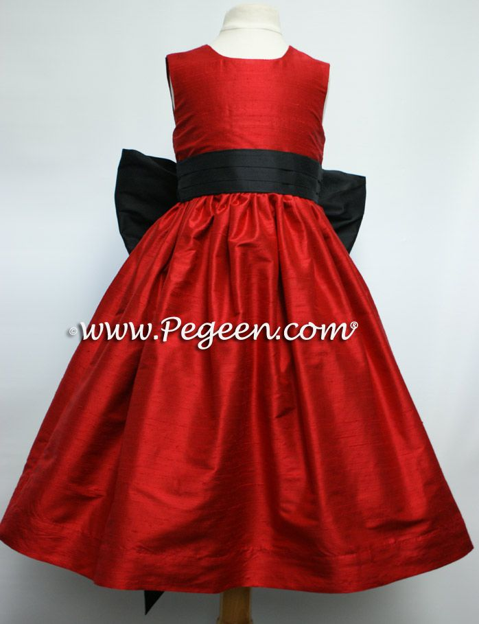 Christmas Red and Black silk flower girl dress by Pegeen.  Style 398 is available in 200+ colors from infant through plus size. ~ Located 1 mile from Disney World, Selling online and shipping worldwide. Call us for design help! 407-928-2377