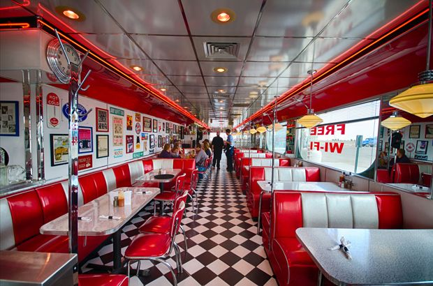 Pin by modern grease on diners drive ins pinterest for Diner interior