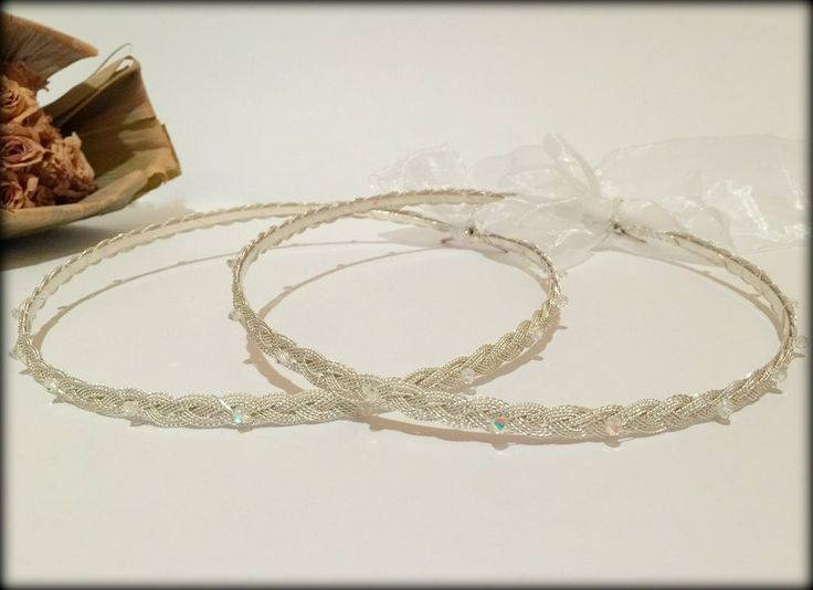 Wedding Crowns.Stefana.Orthodox Wedding.Wedding headband.Stephana.Bridal Crowns.Greek wedding crowns.Silver Plated DIONI. by RaniaCreations on Etsy