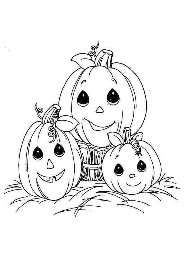 Cute Halloween Pumpkins Coloring Page In 2020