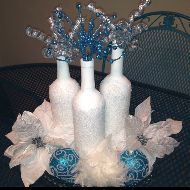 Winter decor love the wine bottles would put word on