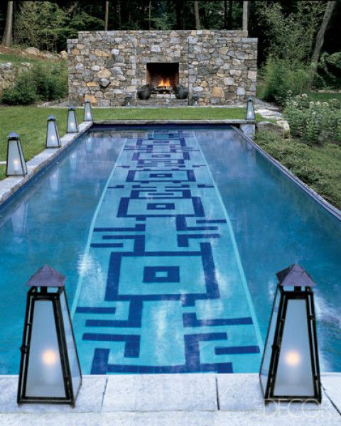 sweet geometric design tile lap poolsswimming - Swimming Pool Tile Designs