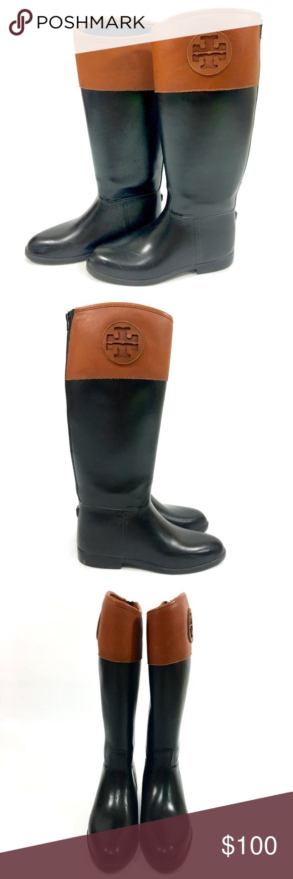 Tory Burch Equestrian Leather Rubber Rain Boots Tory Burch Equestrian Leather Rubber Rain Boots Color: Leather and Black Material: Rubber and Leather  Size: Women's 9, True to size.  Details: Good preowned condition. Minor Markings on rubber. No holes or tear. No stains. Please examine photos and ask questions before purchasing. Thanks! Tory Burch Shoes Winter & Rain Boots