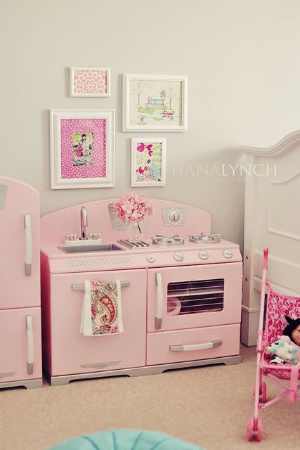 We have this kitchen set.  Super cute toddler girl's room!