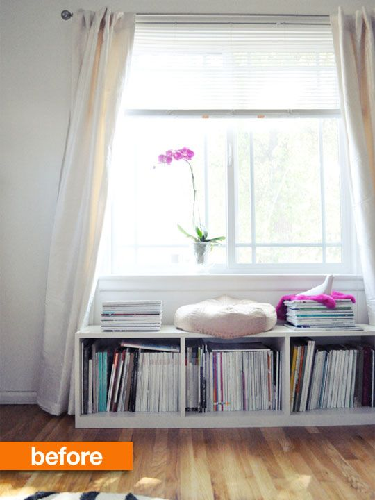 I love the idea of small boxes under a window to store Greg's records, my books, and maybe magazines or something. Great use of space and you could probably get IKEA involved to keep it cheap.