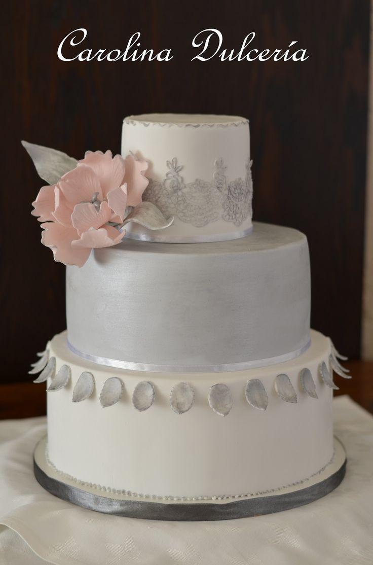 Torta novios peonía y plata, peony & silver details cake