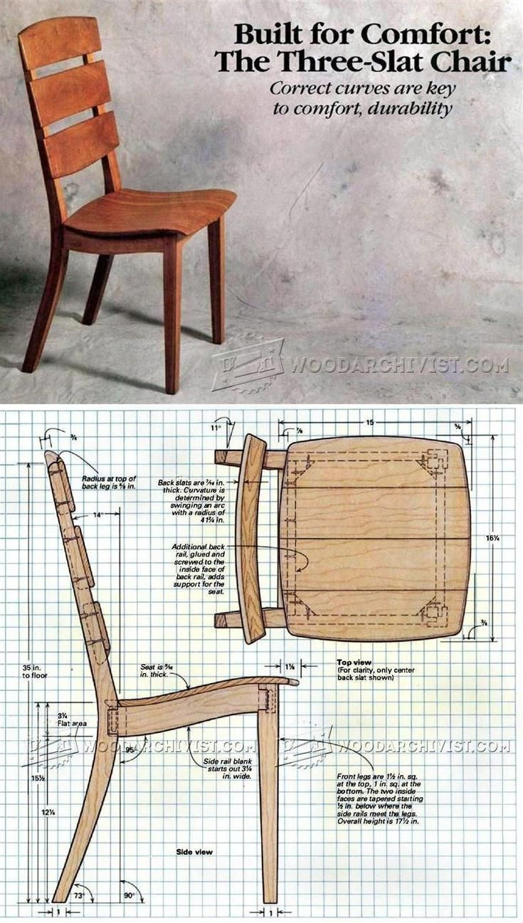 The Three Slat Chair Plans Furniture Plans And Projects Woodarchivist Com Woodwork Woodworking Furniture Plans Furniture Projects Woodworking Projects Diy