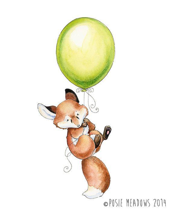 Fox, Fox Artwork, Fox Print, Watercolor Fox, Forest Animal, Fox Nursery Print, Child Fox, Fox Nursery, Nursery Decor, Watercolor Nursery, Balloon
