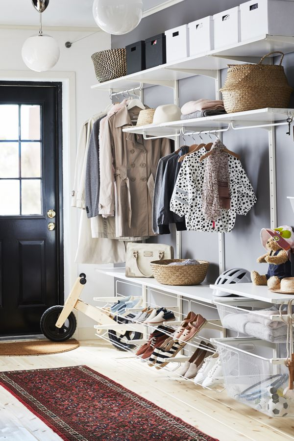Keep the whole family organized and a beautiful entryway with the IKEA ALGOT system. It has adaptable storage to fit all of your needs, from coats to shoes to your children's backpacks!