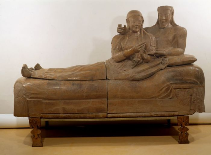 """Sarcofago degli Sposi"": late 6th cent. BC Etruscan terracotta sarcophagus from Cerveteri, in the National Etruscan Museum at Villa Giulia."
