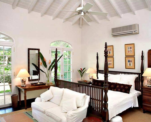 The bedroom in the Plantation Wing. The high ceiling with ...