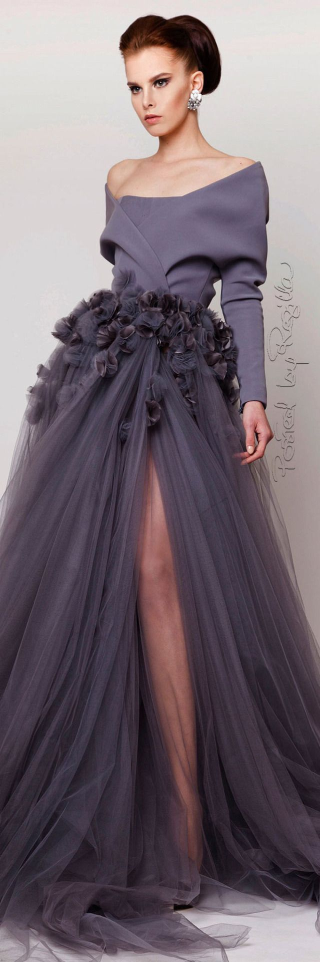Azzi + Osta ~ Off the Shoulder Gown w Full Chiffon Skirt, 2015