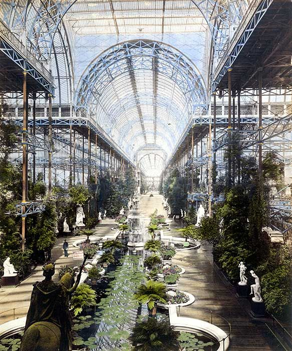 Crystal Palace - Hyde Park, London, England c1851 / Built for the Great Exhibition | Rebuilt and enlarged in an affluent area of London after the exhibition where it stood until 1936 when destroyed by fire.