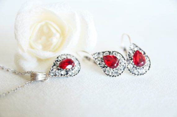 teardrop jewelry art deco clear crystal red burgundy by sestras