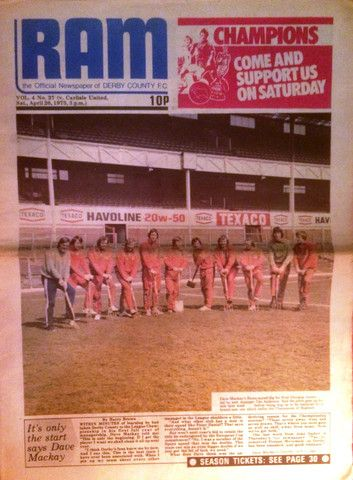 DERBY COUNTY  v  CARLISLE UNITED - 26-04-1975 - DERBY CHAMPIONS & CARLISLE UNITED'S LAST GAME IN THE TOP FLIGHT