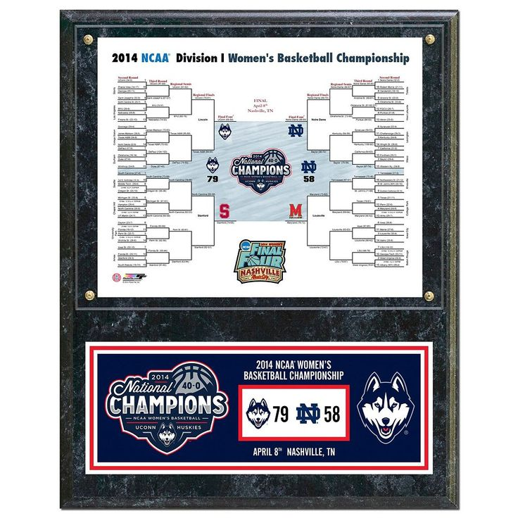 "UConn Huskies 2014 Ncaa Women's Basketball Champions 12"" x 15"" Plaque, Multicolor"