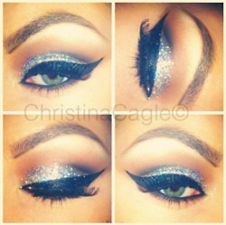 Glitter & cat eye makeup♥