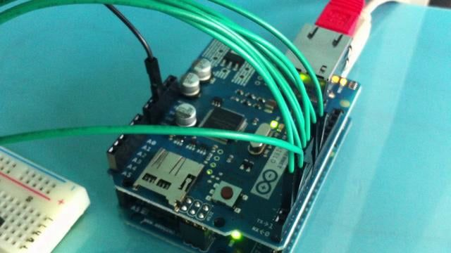 Controlling pins over the internet with the Arduino Ethernet Shield.