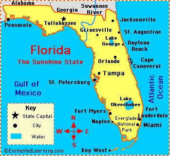 Best FloridaMaps Images On Pinterest Florida Maps Geography - Us map with compass