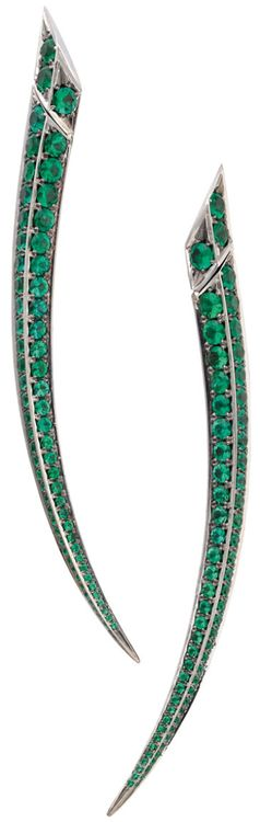 Gemfields' Shaun Leane earrings with 6.10ct of Zambian emeralds.    Via The Jewellery Editor.