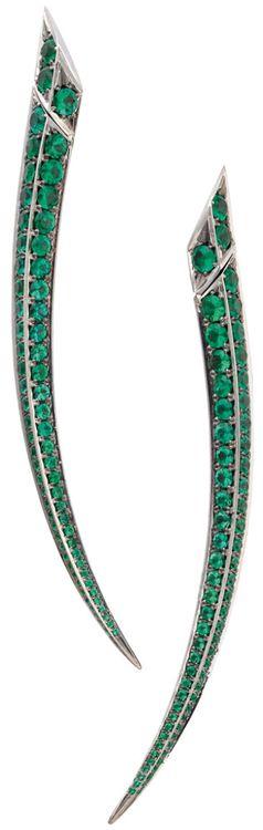 Gemfields' Shaun Leane earrings with 6.10ct of Zambian emeralds.    Via The Jewellery Editor.