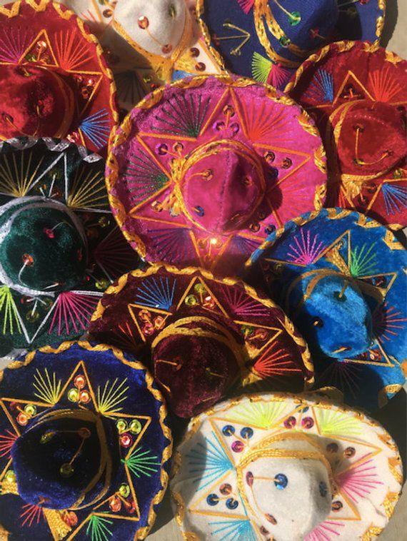 Mini Sombrero Hats Fiesta Mariachi Hat Mexico Spanish Etsy Mariachi Hat Mariachi Sombrero