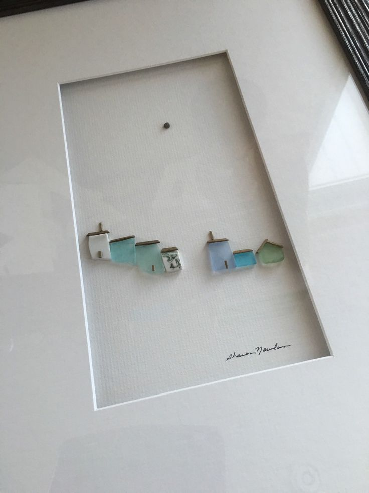 12 by 16 framed pebble and sea glass art by sharon by PebbleArt