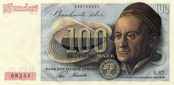 100 Deutsche Mark, Banknote BRD Vorderseite, seit 1951 im