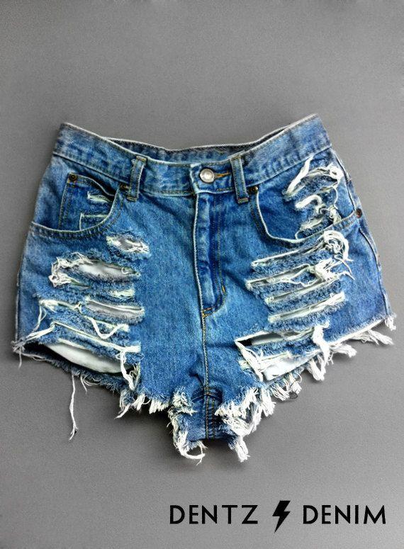 "Use coupon code ""pinterest"" Plus thru Petite Size High Waisted Denim Shorts - Shredded by DentzDenim"