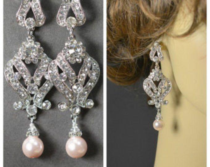 Pendientes de novia perla Blush rosa suave Pendientes perla Circonita plata Post boda joyería de Dama regalo Pastel rosa joyas