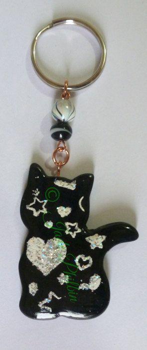Cat key ring Cat bag charm Cat keychain by OriginalArtAndCrafts