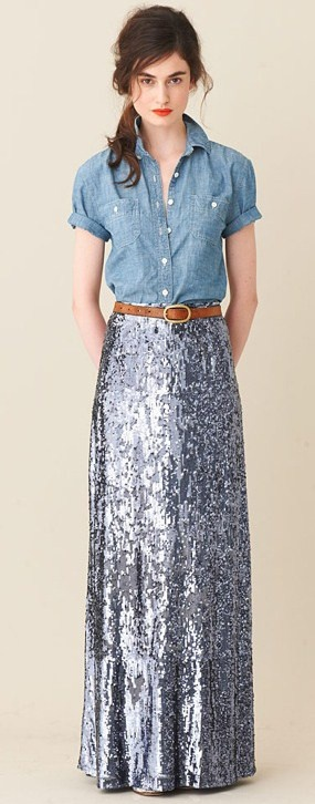 j Crew Modesty shirt with glitter maxi skirt | The House of Beccaria~