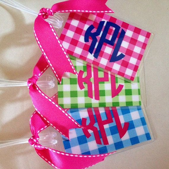 Luggage Tag Preppy Circle Monogram with Gingham Print Laminated with Ribbon Lunch Bag Diaper Bag Backpack Bridesmaid Gift Wedding Gift
