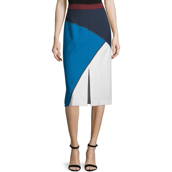 Escada Geometric-Print Bonded Pencil Skirt ($412) ❤ liked on Polyvore featuring skirts, blue multi, geometric print pencil skirt, blue skirt, front slit pencil skirt, white pencil skirt and escada