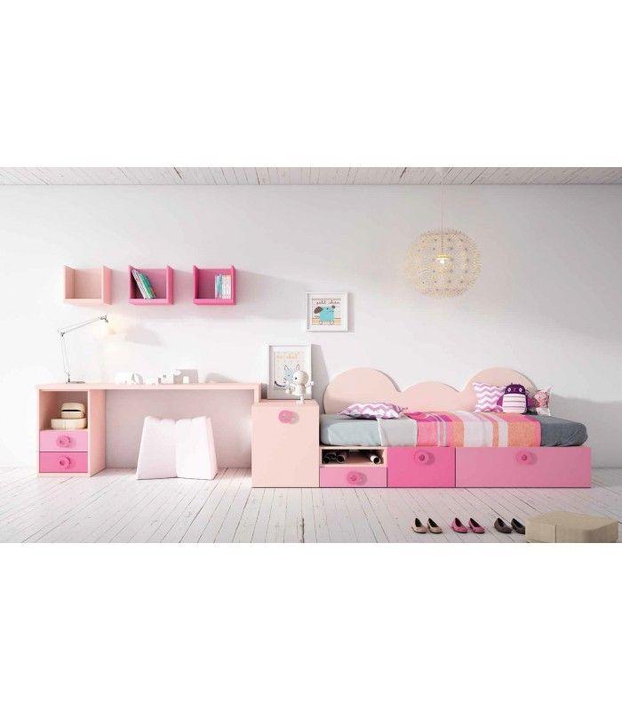Preciosodormitorio juvenil Madrid para niñas en colores rosa, fresa y fucsia. Con cama juvenil, mesa estudio, arcones y librerías.