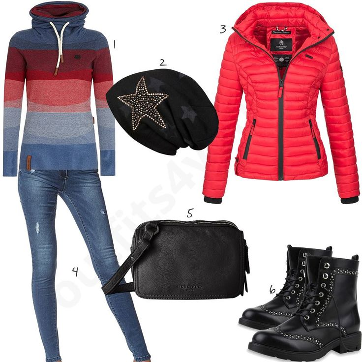 Blau-Roter Pullover, rote Steppjacke und schwarze Stiefel (w0686) #naketano #tasche #liebeskind #ootd #outfit #style #fashion #womenswear #womensfashion #outfits4you #damenoutfit #frauenoutfit #outfit2017 #inspiration #womensstyle #damenmode #frauenmode #mode #sneaker