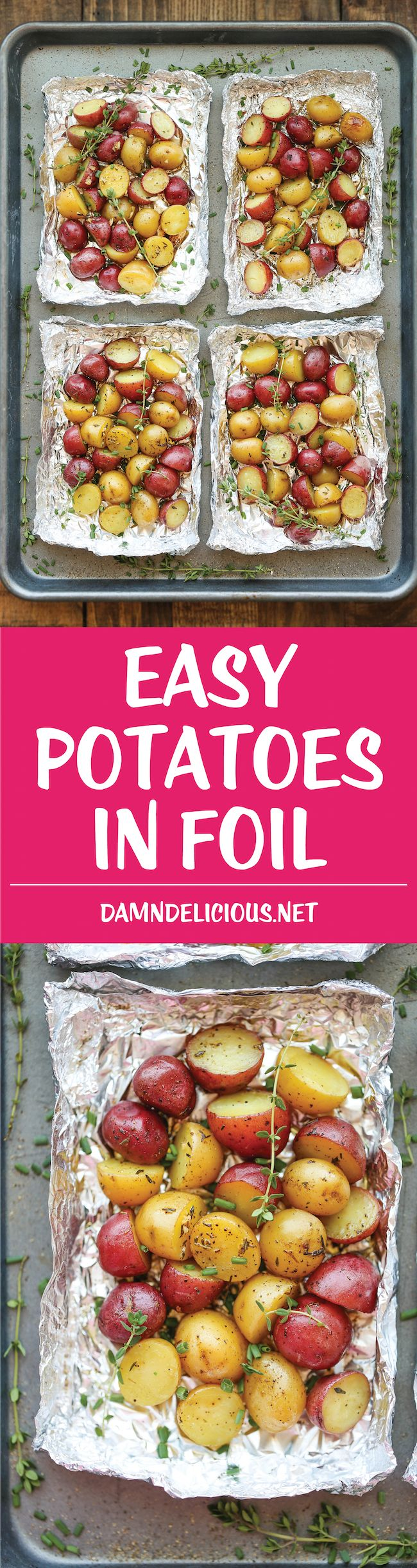 Easy Potatoes in Foil - You won't believe how easy it is to make potatoes right in foil - simply cut, wrap in foil and bake. Easy clean-up and just so good! #recipe