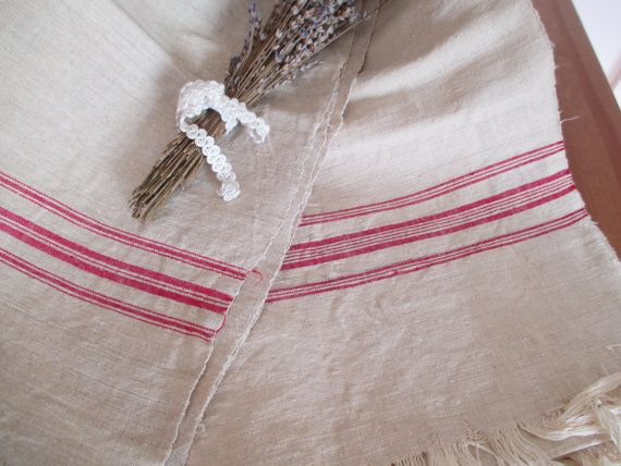 214.Flax linen towel vintage organic linen homespun pure