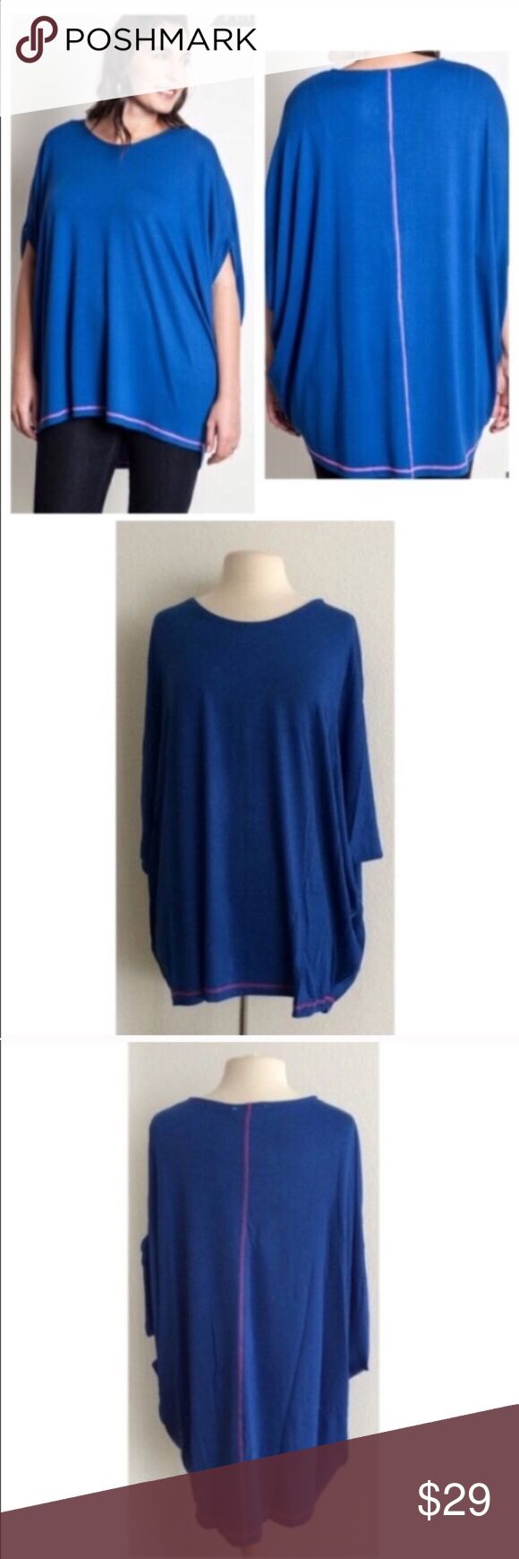 """(Plus) Blue batwing top Blue batwing top  Length- approx 32""""  Materials- 65% cotton/ 35% polyester. This is a pretty thick top and it is extremely versatile. It can be dressed up or dressed down. Runs slightly large.  Availability- XL•1x • 1•1 ⭐️This item is brand new from manufacturer without tags.  🚫NO TRADES 💲Price is firm unless bundled 💰Ask about bundle discounts Tops Tunics"""