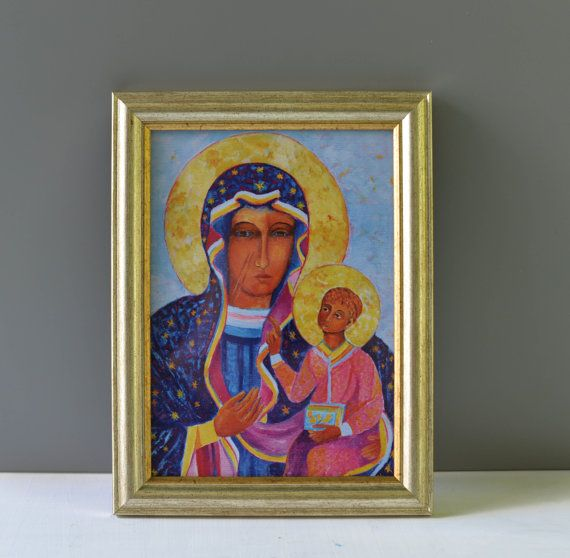 Black Madonna of Jasna Gora icon Framed print of by TanabeStudio