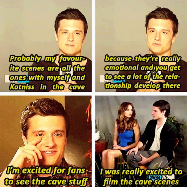is it just me, or did Josh Hutcherson REALLY like filming the cave scene?? It's almost scary that I've watched enough interviews of him that I know this, and it's funny =/