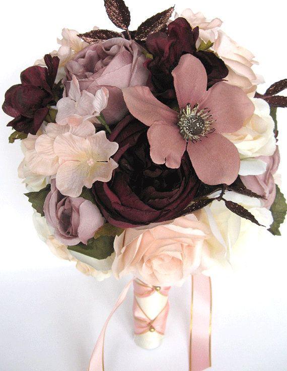 Hochzeitssträuße Brautstrauß 17-teiliges Paket Hochzeit Seidenblumen ROSE GOLD Erröten EGGPLANT Mauve   – Products