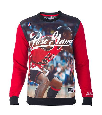 POST GAME Crew sweatshirt Jordan on front, Lebron on back Long sleeves All-over print Inner terry lining POST GAME logo on front