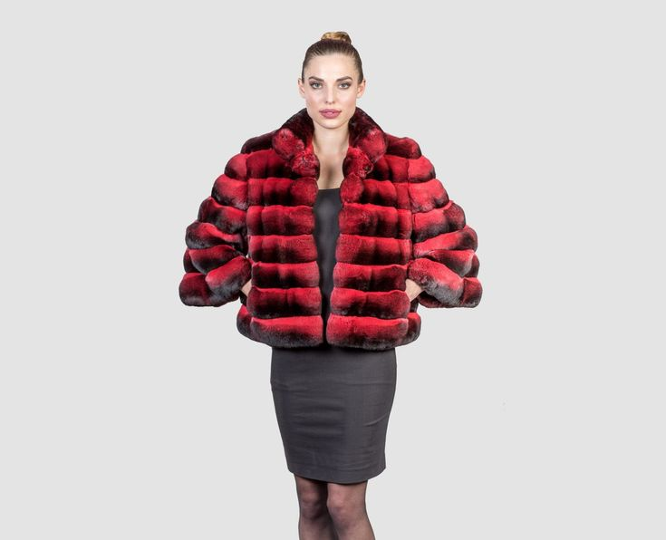 #chinchilla #real #fur #coat #jacket #style #fashion #classy #clothing #top #red #dyed #color #outfit #woman #dress #perfection #furcoat