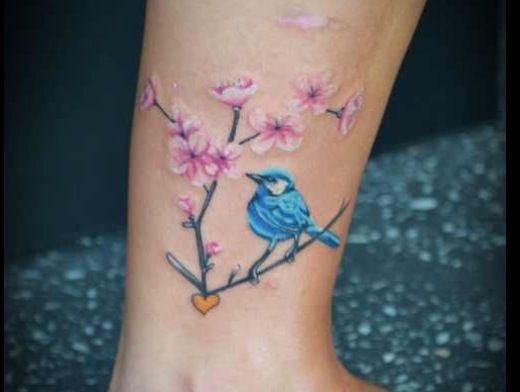 Small blue jay wrist tattoo