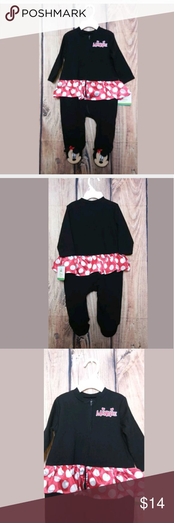 Disney Baby Minnie Mouse One Piece Footed Pajamas Disney Baby Minnie Mouse One Piece Footed Pajamas Hooded Size 3-6 Months NEW Disney One Pieces Footies